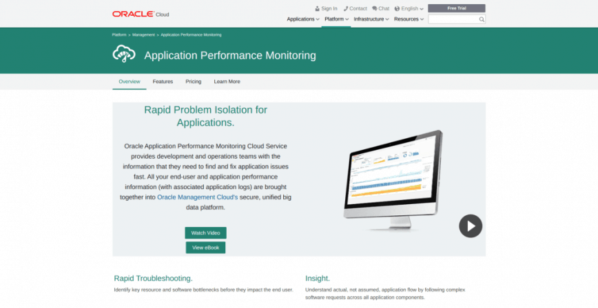 Application Performance Monitoring Service Oracle Cloud
