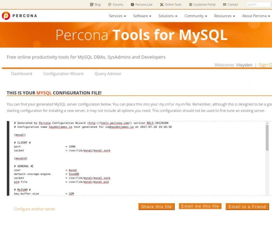 Percona Tools for MySQL Percona Configuration Wizard for MySQL_