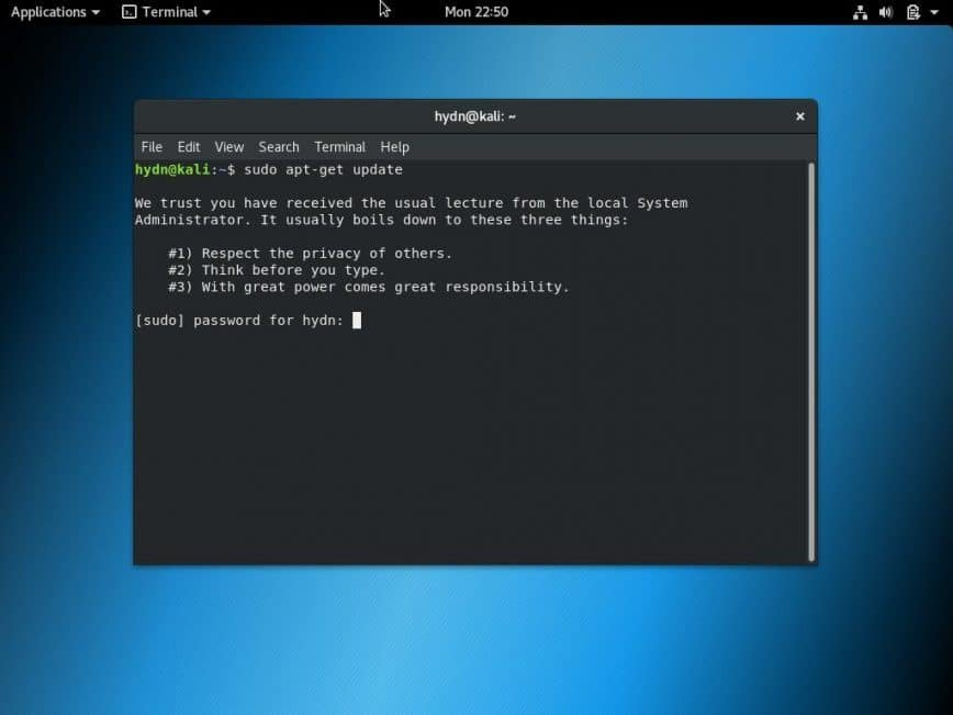 Kali non-root install
